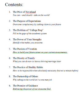 My hypothetical book's table of contents.  :)
